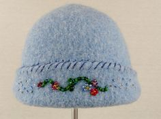 Felted Beaded Hat by WHATKnotsBoutique on Etsy