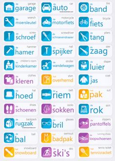 Start learning Dutch with Vocabulary Stickers. You will learn the 132 most important words in no time, just by placing them around your home. Dutch Language, German Language Learning, Language Study, Italian Language, Dutch Phrases, Dutch Words, German Words, Learn Dutch, Learn German