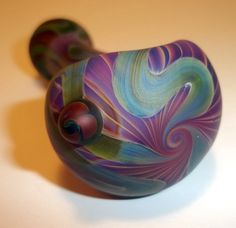 Glass Pipe Sandblasted Full Color Beautiful Pipe by LoudActions, $50.00