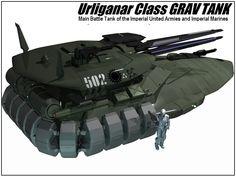 Urliganar-class Grav Tank Military Guns, Military Vehicles, Science Fiction, Tactical Truck, Tank Armor, Sci Fi Comics, Spaceship Art, Battle Tank, Military Equipment