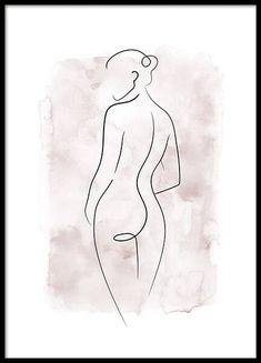 Body Drawing, Line Drawing, Watercolor Background, Watercolor Art, Art Sketches, Art Drawings, Arte Linear, Minimal Art, Poster Drawing