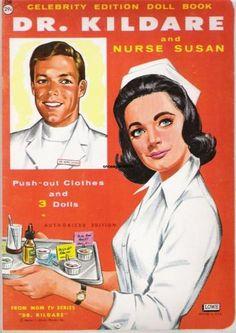 VINTAGE UNCUT 1960's DR KILDARE & NURSE SUSAN PAPER DOLLS~#1 REPRO~ORIG SIZE *