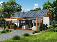Projekt domu Laba wersja A - Small Modern House Plans, Small House Design, Farmhouse Plans, Farmhouse Style, Style At Home, Bungalow Haus Design, Dream Beach Houses, Weekend House, Backyard Pergola