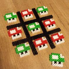 Mario Mushroom tic tac toe set perler beads by robozippy