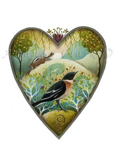 Heart art print. 'May Meadow'.  By Amanda Clark. A beautiful gift , or for creating a collection of my other 'heart' prints.