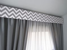 contemporary cornice | Gray Chevron Modern Cornice Board Valance Window Treatment - Custom ...