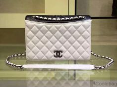 CHANEL WHITE SATIN AND GROSGRAIN FLAP LARGE BAG EMBELLISHED WITH A RIBBON PIPING 2015