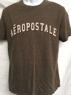 Aeropostale Shirt Adult Medium Aero Urban Casual Sewn On Fabric Letters Brown #Aeropostale #aero #urban