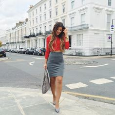 Mimi Ikonn | Red Crop Top, Grey High Waisted Skirt, Grey Melissa Stilettos, Grey Falabella Bag, Stella McCartney, Luxy Hair | OOTD