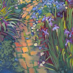 Louisiana Edgewood Art Paintings by Louisiana artist Karen Mathison Schmidt: The final version of the garden painting