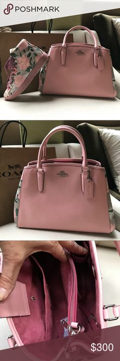 """Coach pink leather Rose crossbody bag Beautiful pink Leather Coach Crossbody with Gorgeous Roses on sides for details sliver hardware Coach logo on Front coach charm on front. Beautiful pink suede interior Two separate compartments middle zipper pocket magnetic closure at top. Two slip pockets one snap pocket . Adjustable and detachable pink leather strap..feet at bottom. New with Tags. 14"""" bye 9"""" height (shoes sold separately ) Coach Bags Crossbody Bags"""