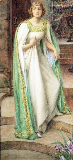 Henry Meynell Rheam (British painter) 1859 - 1920, The Lady of Shalott, s.d., watercolour, 84 x 39 cm. (33 x 15 1/2 in.)  signed 'Henry.M. Rheam' l.l., private collection