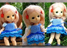 Crocheted dress on a doll dark pink white light pink Yellow 4 skirts The dress consists of two skirts Pink Yellow, Pink White, Fairy Land, White Light, Bjd, Harajuku, Dolls, Crochet, Free