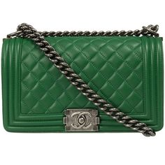 Chanel Boy Quilted Flap Bag (91 485 UAH) ❤ liked on Polyvore featuring bags, handbags, chanel, green, green purse, green cross body purse, chanel handbags, quilted cross body purse and chain purse