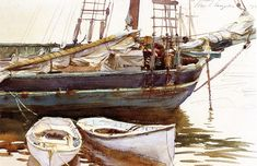 Schooner, Catherine, Somesville, Maine by John Singer Sargent, Watercolor on paper