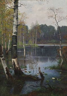 By Ellen Favorin, Finnish painter, 1853 - 1919 Landscape Art, Landscape Paintings, Russian Painting, Prince, European Paintings, Green Nature, Traditional Paintings, Water Lilies, Pictures To Paint