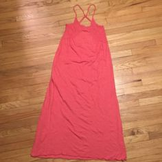 Anthropologie Saturday Sunday long sundress- small Anthropologie Saturday Sunday long orange cotton sundress - small. Armpit to armpit - 15 inches. Length - 52 inches. Anthropologie Dresses Maxi