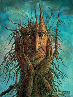 This is a fantasy painting of a treetch (tree creature) who is frustrated because he got his roots stuck in the ground, and he can't pull them out and go on an adventure! Painting by Frank Robert Dixon. Fantasy Kunst, Fantasy Art, Fantasy Paintings, Fantasy Trees, Owl Paintings, Fantasy Landscape, Landscape Art, Fine Art Amerika, Art Fantaisiste