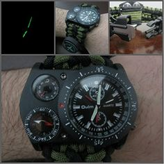 Paracord Survival Watch Thermometer Tactical Compass Fire...