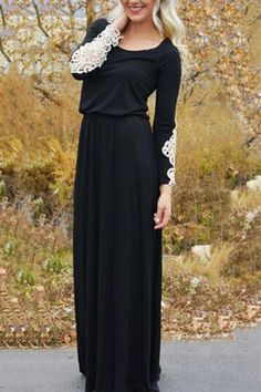 Black Elastic Waist Round Neck Long Sleeve Maxi Dress