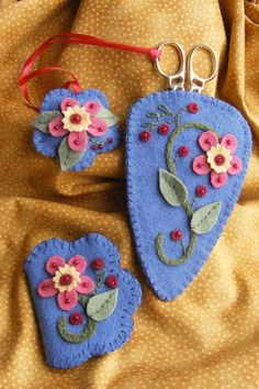 A colorfu Wool Applique pin cushion, emery and needle keep       Needle case, pin cushion and scissors keeper