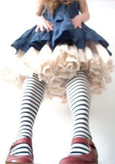 tulle petticoat, skirt, stripy tights, red shoes, nice angle