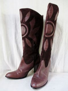 Womens MARKS & SPENCER LIMITED EDITION Leather Suede Knee High Heel BOOT Shoe BROWN 8.5