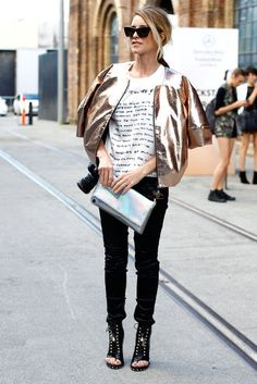 Metallic is one of spring's biggest trends after all #summer #streetstyle