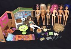 """Up for your purchasing consideration is a lot of 7 Spin Master Liv dolls. All wear wigs (plus there is one extra wig), but only one wears clothing. - """"It's My Nature"""" Maple Lodge set with building, roof, table, hammock, sleeping bag, and other original accessories (campfire works, but will require 2 """"AA"""" batteries, not included.set is not complete). 