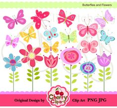 Pretty Butterflies and Flowers Digital Clipart Set for-Personal and Commercial Use-Card Design, Scrapbooking, and Web Design. $5.00, via Etsy.