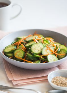 Low Carb & Healthy Sesame Cucumber Salad Recipe on WhiteOnRiceCouple.com  Minor changes and it works.