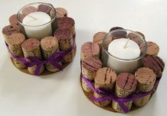 DIY Wine Cork Candle Holder - save the corks from your wedding Wine Craft, Wine Cork Crafts, Wine Bottle Crafts, Champagne Cork Crafts, Champagne Corks, Wine Cork Projects, Diy Projects, Sewing Projects, Wine Cork Candle