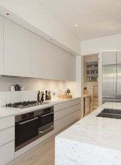 Simple kitchen with integrated pantry & fridge (no wasted space)