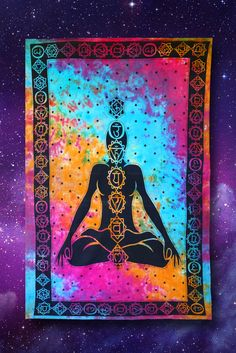 Tie dye, meditation, and chakra tapestry. Perfect for a hippie or psychedelic bedroom. Check out our low priced hippie home decor at http://www.vibelava.com .