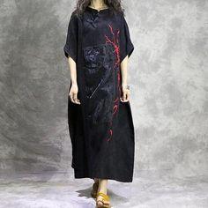 Center Detail Embroidered Cotton & Linen Dress
