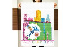Illustration graphic Printed Singapore Skyline Secondo by arceb, €12.00