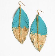 Leather Feather Earrings, dipped in gold
