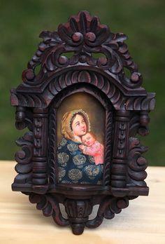Madonna & Child~Cuzco Santos Art Framed Retablo Icon Original Oil Painting | eBay