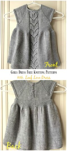Leaf Love Dress Free Knitting Pattern - Little Girls #Dress Free #Knitting Patterns