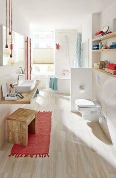 #Bathroom Tiles in wood look - bathroom design  #art #bathromstyles #washroom #trendbathroom #decoration2018#Tiles #in #wood #look #- #bathroom #design