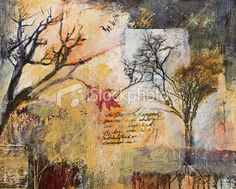 Mixed media collage painting with winter trees and oak leaf Royalty Free Stock Photo