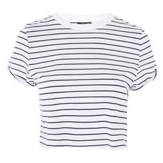 Women's Topshop Roll Cuff Stripe Tee (71 PEN) ❤ liked on Polyvore featuring tops, t-shirts, crop top, stripe crop top, crop t shirt, stripe t shirt, striped t shirt and striped crop tops