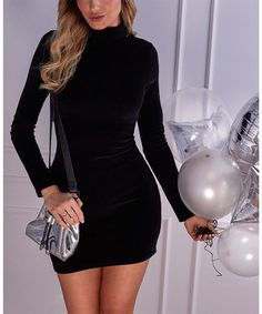 Black Velvet Mock Neck Bodycon Dress - Women #zulily #zulilyfinds