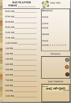 Daily Planner with just time slots - includes 1/2 hour ...
