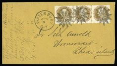 interesting handmade postal stamp cancellation made by postmaster John W. Hill of Waterbury, CT in the mid 1800's