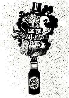 We're all Mad here - Alice in Wonderland art