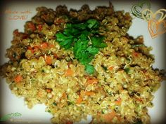 Quinoa with Chopped Spinach, Carrots 'n Green Onions