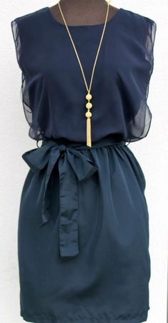 Gorgeous! Navy blue dress# Gold tassle necklace#