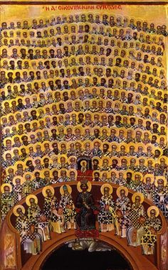 first Ecumenical Council (a council of Christian bishops convened in Nicaea by the Roman Emperor Constantine I in AD This first ecumenical council was the first effort to attain consensus in the church through an assembly representing all of Christendom. Byzantine Icons, Byzantine Art, Religious Icons, Religious Art, Blacks In The Bible, Religion, Orthodox Icons, Medieval Art, Sacred Art