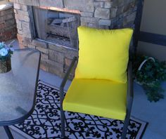 Items similar to Outdoor Solid Yellow Foam Cushion & Back Pillow Set for Patio Dining - Choose Size on Etsy Back Pillow, Pillow Set, Cushion Pillow, Patio Cushions, Foam Cushions, Outdoor Dining Chairs, Adirondack Chairs, Deck Seating, Wrought Iron Chairs